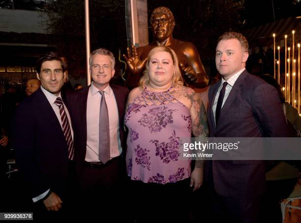 Peter Nelson Executive Vice President HBO Sports Bill Simons Executive producer Robin Christensen Andre's dauhghter and director Jason Hehir pose at...
