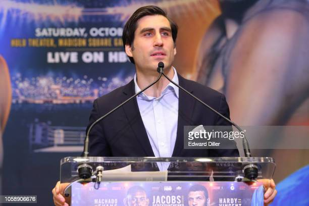 Peter Nelson of HBO addresses members of the media at the Jacobs vs Derevyanchenko press conference at Madison Square Garden on October 24 2018 in...