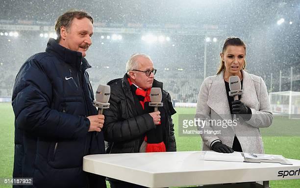 Peter Neururer Television presenter Laura Wontorra President Fritz Keller of Freiburg seen prior to the Second Bundesliga match between SC Freiburg...