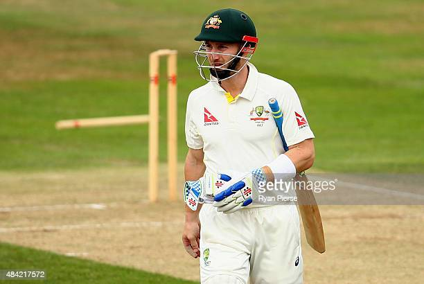Peter Nevill of Australia looks dejected after being dismissed by Steve Crook of Northamptonshire during day three of the tour match between...