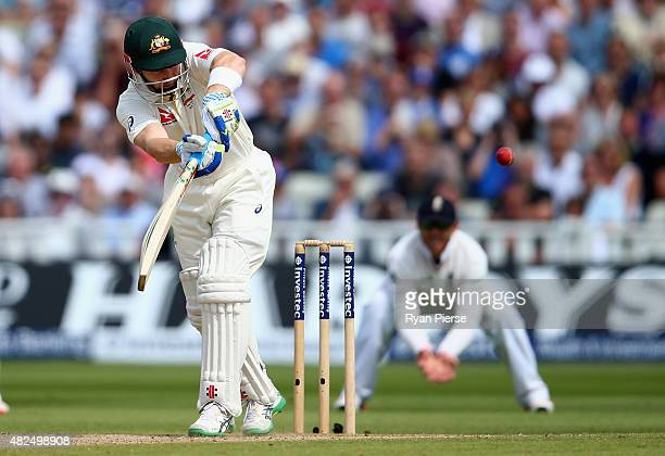 Peter Nevill of Australia plays and is caight by Jos Buttler of England off the bowling of Steven Finn of England during day three of the 3rd...