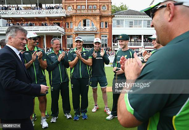 Peter Nevill of Australia recieves his Baggy Green Cap from former Australian Captain Steve Waugh during day one of the 2nd Investec Ashes Test match...