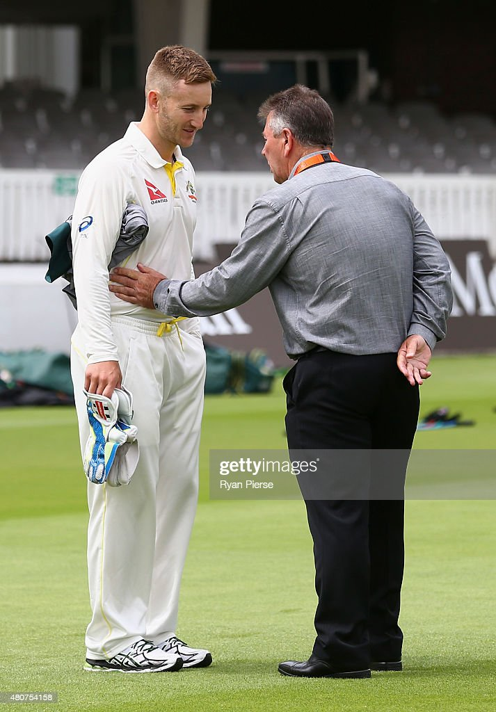 Peter Nevill of Australia speaks to Australian Chairman of Selectors Rod Marsh during a nets session ahead of the 2nd Investec Ashes Test match between England and Australia at Lord's Cricket Ground on July 15, 2015 in London, United Kingdom.