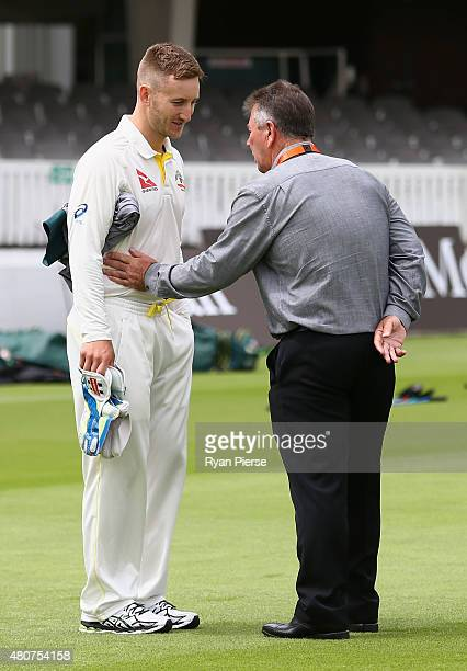 Peter Nevill of Australia speaks to Australian Chairman of Selectors Rod Marsh during a nets session ahead of the 2nd Investec Ashes Test match...