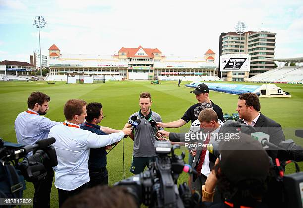 Peter Nevill of Australia speaks to the media during a nets session ahead of the 4th Investec Ashes Test match between England and Australia at Trent...