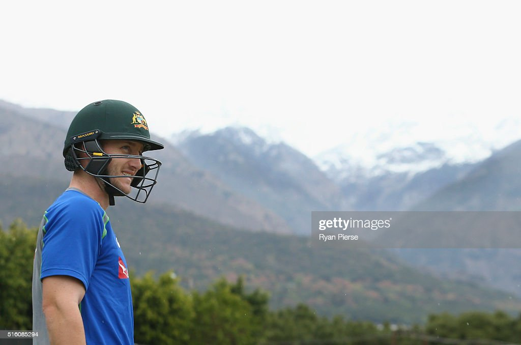 Peter Nevill of Australia trains during an Australian nets session ahead of the ICC 2016 Twenty20 World Cup on March 17, 2016 in Dharamsala, India.