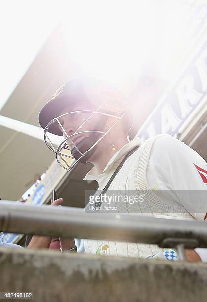 Peter Nevill of Australia walks out to bat during day three of the 3rd Investec Ashes Test match between England and Australia at Edgbaston on July...