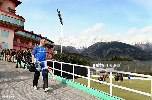 Peter Nevill of Australia walks to the nets during an Australian nets session ahead of the ICC 2016 Twenty20 World Cup on March 16 2016 in Dharamsala...