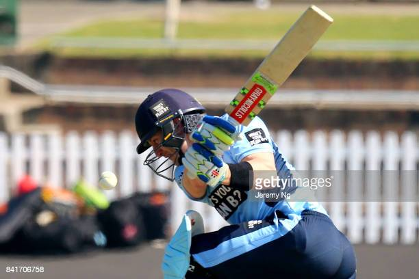 Peter Nevill of Cricket NSW plays a sweep shot during the Cricket NSW Intra Squad Match at Hurstville Oval on September 2, 2017 in Sydney, Australia.