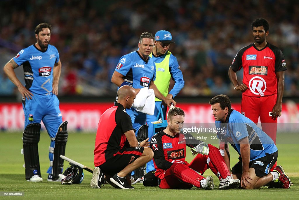 Peter Nevill of Melbourne after being hit by Brad Hogg of Adelaide bat during the Big Bash League match between the Adelaide Strikers and the Melbourne Renegades at Adelaide Oval on January 16, 2017 in Adelaide, Australia.