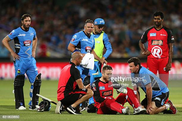 Peter Nevill of Melbourne after being hit by Brad Hogg of Adelaide bat during the Big Bash League match between the Adelaide Strikers and the...