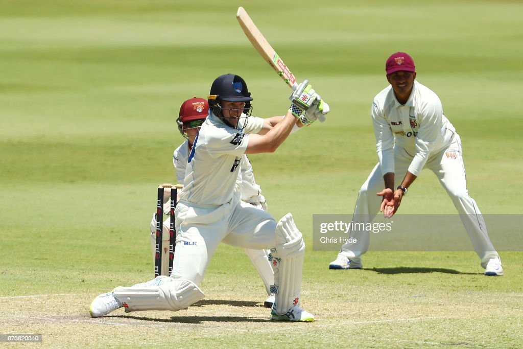 Peter Nevill of New South Wales bats during day two of the Sheffield Shield match between Queensland and New South Wales at Allan Border Field on November 14, 2017 in Brisbane, Australia.