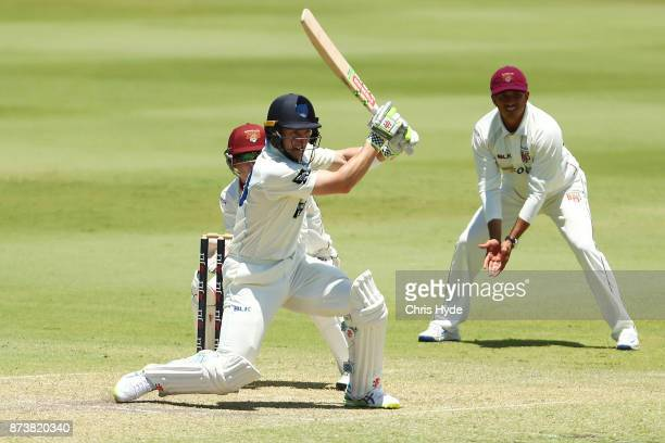 Peter Nevill of New South Wales bats during day two of the Sheffield Shield match between Queensland and New South Wales at Allan Border Field on...