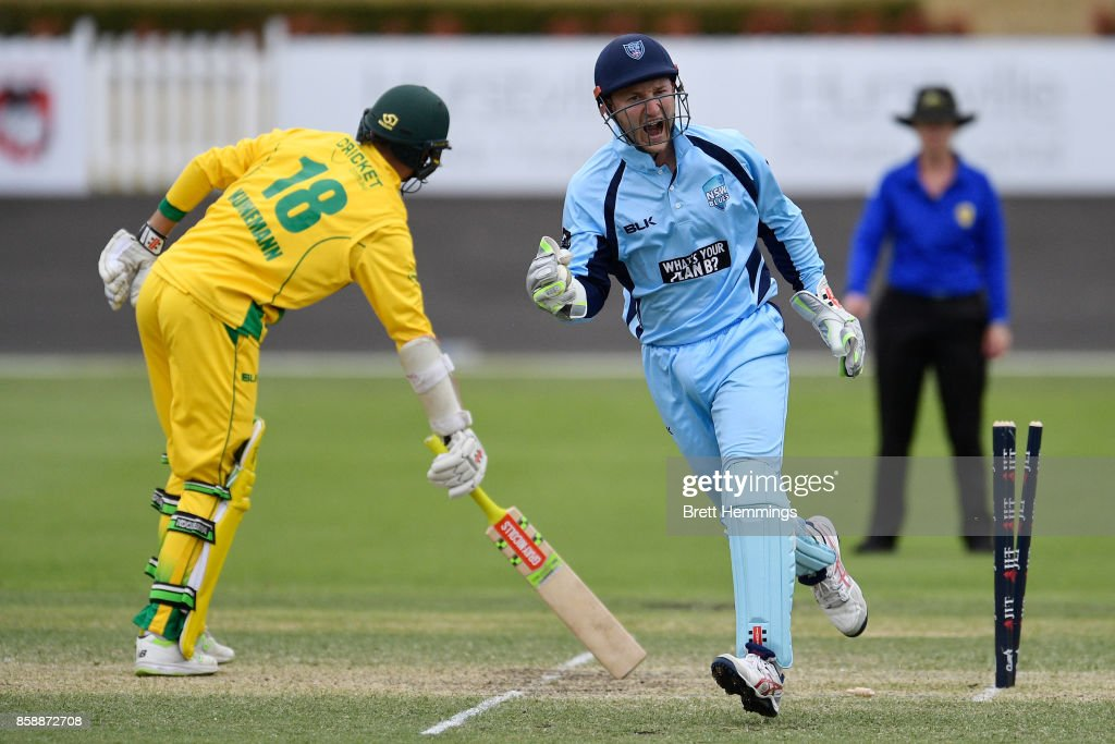 Peter Nevill of NSW celebrates after taking the stumping wicket of Matthew Kuhnemann of CAXI during the JLT One Day Cup match between New South Wales and the Cricket Australia XI at Hurstville Oval on October 8, 2017 in Sydney, Australia.