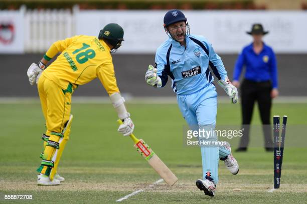 Peter Nevill of NSW celebrates after taking the stumping wicket of Matthew Kuhnemann of CAXI during the JLT One Day Cup match between New South Wales...