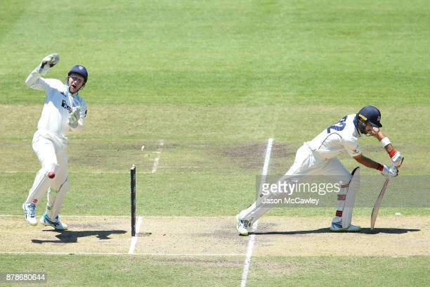 Peter Nevill of NSW celebrates the dismissal of Glenn Maxwell of Victoria off the bowling of Stephen O'Keefe of NSW during day two of the Sheffield...
