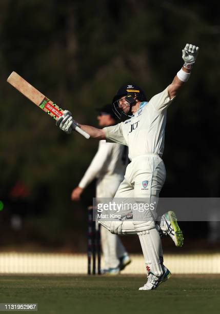 Peter Nevill of the Blues celebrates and acknowledges the crowd after scoring a century during day three of the Sheffield Shield match between New...