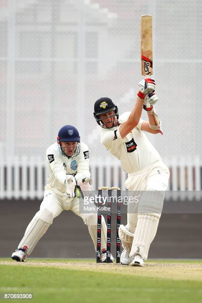 Peter Nevill of the Blues keeps wicket as Jason Behrendorff of the Warriors bats during day three of the Sheffield Shield match between New South...