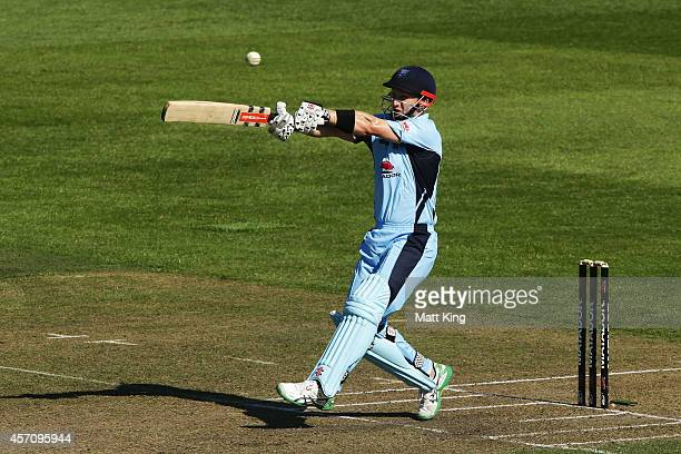 Peter Nevill of the Blues plays a pull shot during the Matador BBQs One Day Cup match between Victoria and New South Wales at North Sydney Oval on...