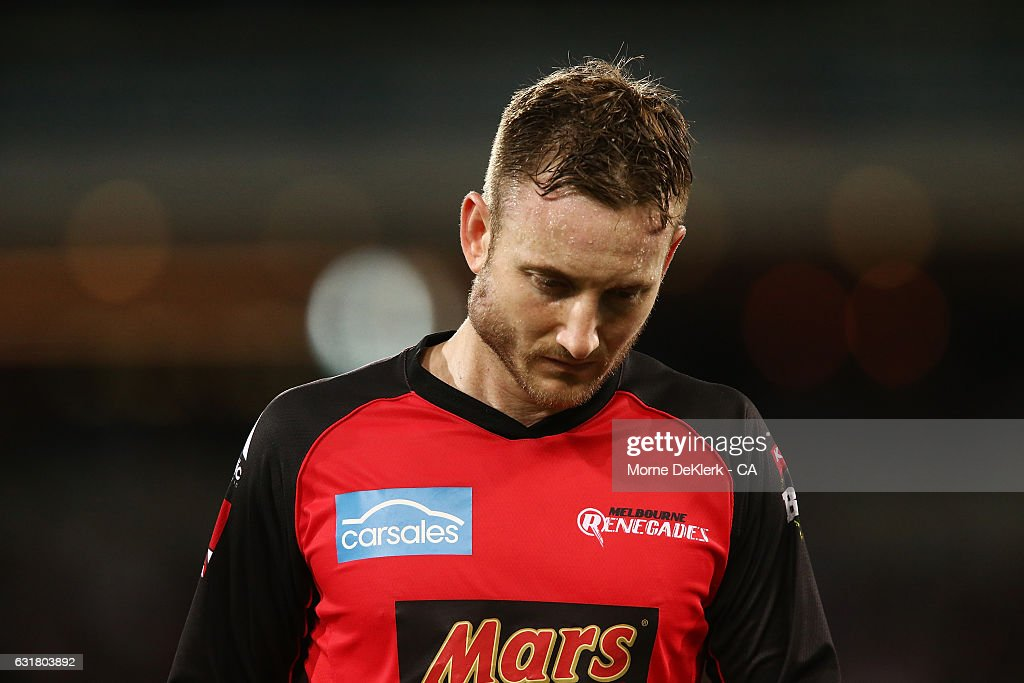 Peter Nevill of the Melbourne Renegades comes from the field with an injury to his right jaw after he was hit by the bat of Brad Hodge of the Adelaide Strikers during the Big Bash League match between the Adelaide Strikers and the Melbourne Renegades at Adelaide Oval on January 16, 2017 in Adelaide, Australia.