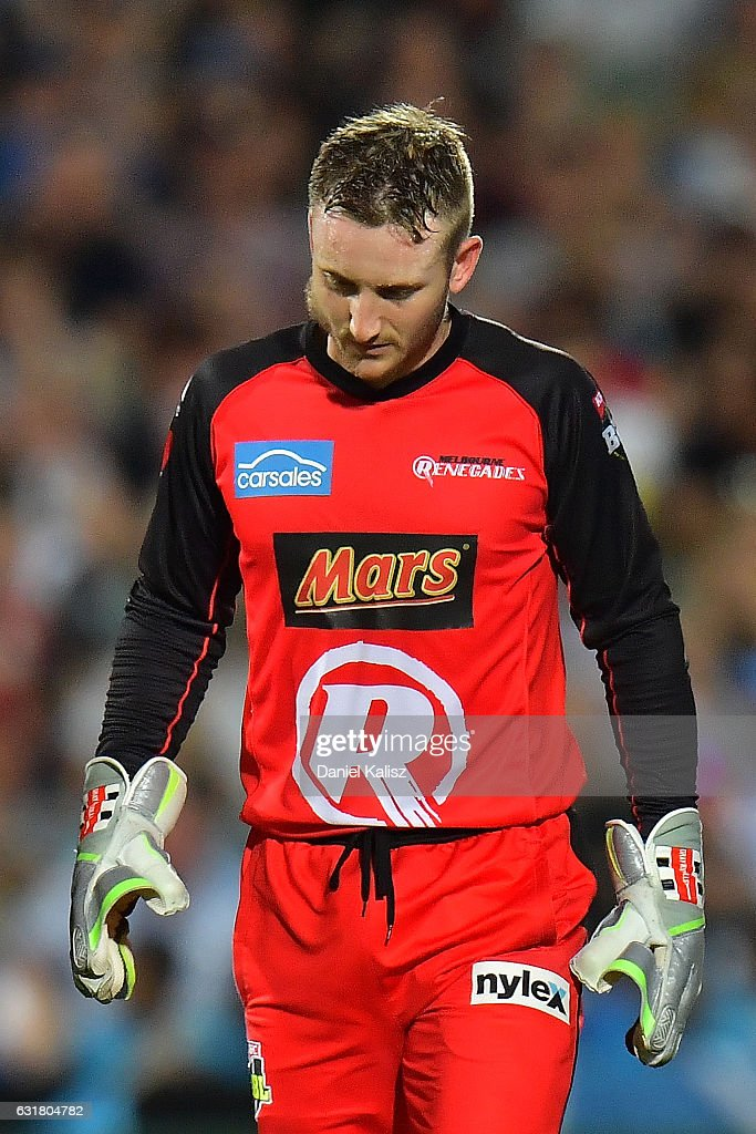 Peter Nevill of the Melbourne Renegades walks from the field after being struck in the head by the bat of Brad Hodge of the Adelaide Strikers during the Big Bash League match between the Adelaide Strikers and the Melbourne Renegades at Adelaide Oval on January 16, 2017 in Adelaide, Australia.