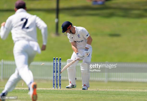Peter Neville of New South Wales bowled out during day two of the Sheffield Shield match between New South Wales and Victoria at Drummoyne Oval, on...