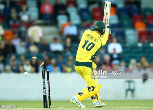 Peter Neville of the PM's XI is bowled during the One Day Tour Match between the Prime Minister's XI and England at Manuka Oval on February 2 2018 in...