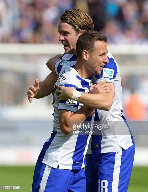 Peter Niemeyer and Roy Beerens of Hertha BSC celebrate after scoring the 1:0 during the Bundesliga match between Hertha BSC and Werder Bremen on...