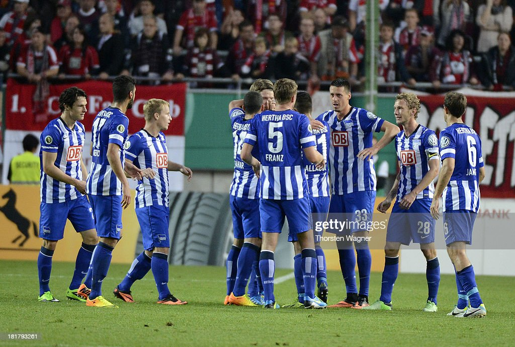 Peter Niemeyer of Berlin celebrates after scoring his teams opening goal during the DFB Cup 2nd round match between 1.FC Kaiserslautern and Hertha BSC Berlin at Fritz-Walter-Stadion on September 25, 2013 in Kaiserslautern, Germany.