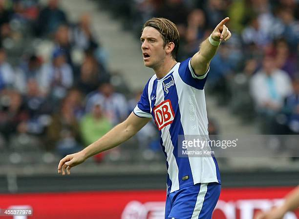 Peter Niemeyer of Berlin gestures during the Bundesliga match between Hertha BSC and 1FSV Mainz 05 at Olympiastadion on September 13 2014 in Berlin...