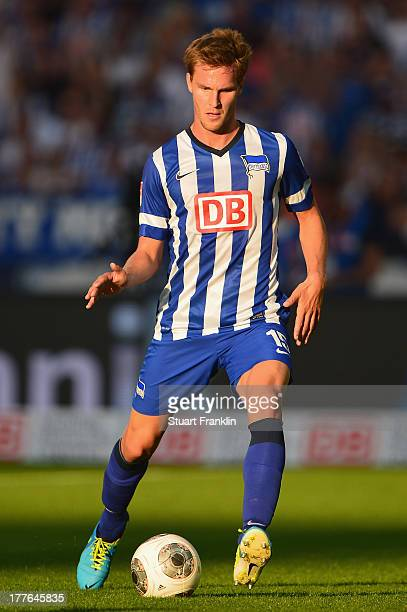 Peter Niemeyer of Berlin in action during the Bundesliga match between Hertha BSC and Hamburger SV at Olympiastadion on August 24 2013 in Berlin...