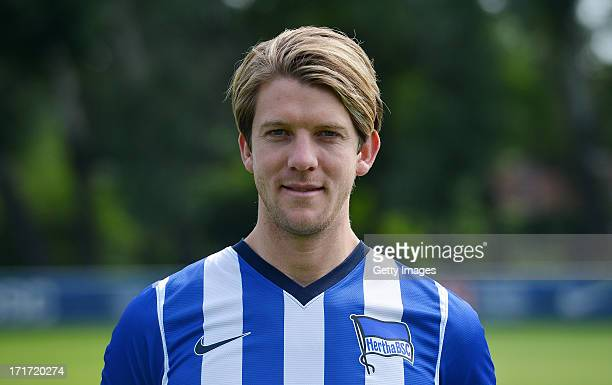 Peter Niemeyer of Berlin pose during the official Hertha BSC Berlin team presentation at the training ground of the team on June 28 2013 in Berlin...