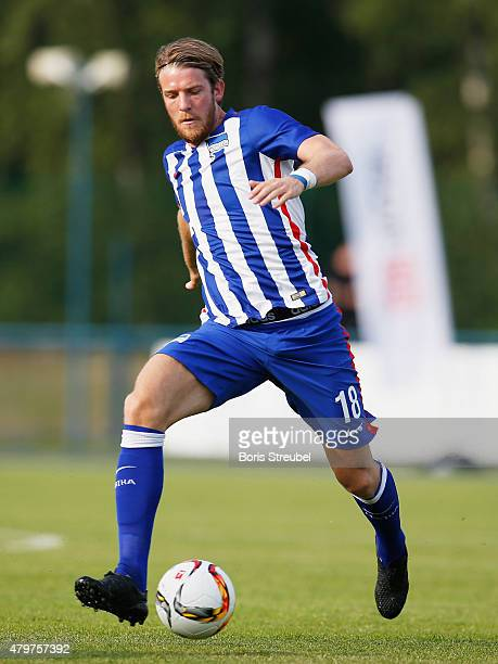 Peter Niemeyer of Berlin runs with the ball during a friendly match between Hertha BSC and Team DB at Waldstadion on July 3 2015 in Ludwigsfelde...