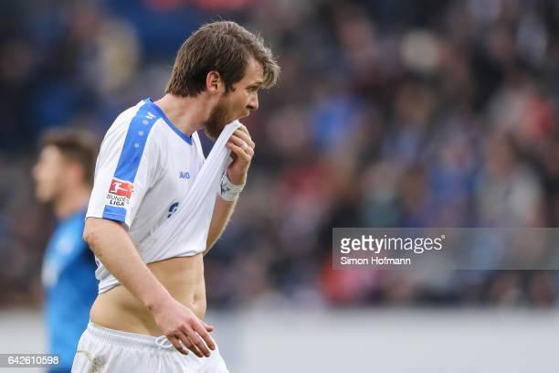 Peter Niemeyer of Darmstadt reacts during the Bundesliga match between TSG 1899 Hoffenheim and SV Darmstadt 98 at Wirsol RheinNeckarArena on February...