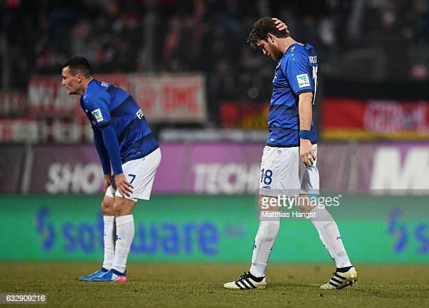 Peter Niemeyer of Darmstadt shows his disappointment after the Bundesliga match between SV Darmstadt 98 and 1 FC Koeln at Stadion am Boellenfalltor...