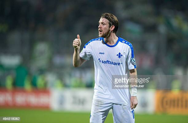 Peter Niemeyer of SV Darmstadt 98 shows thumbs up during the second round of the DFB Cup between SV Darmstadt 98 and Hannover 96 at MerckStadion am...