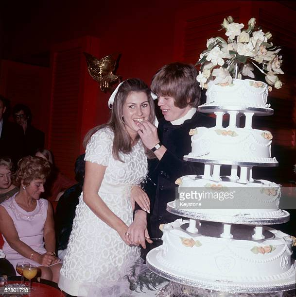 Peter Noone lead singer of the British pop group Herman's Hermits marriying his French girlfriend Mireille Strasser November 1968