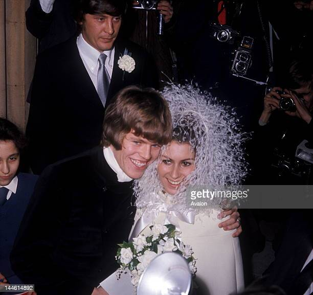 Peter Noone of UK pop group Hermans Hermits photographed at his wedding to Mireille Strasser in 1967