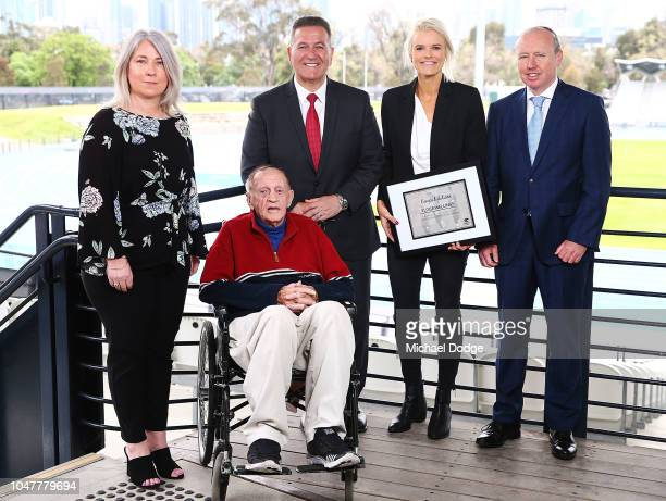 Peter Norman's daughter Janita Norman Coach Neville Sillitoe Minister For Sport John Eren MP Peter Norman Humanitarian Award winner Eloise Wellings...