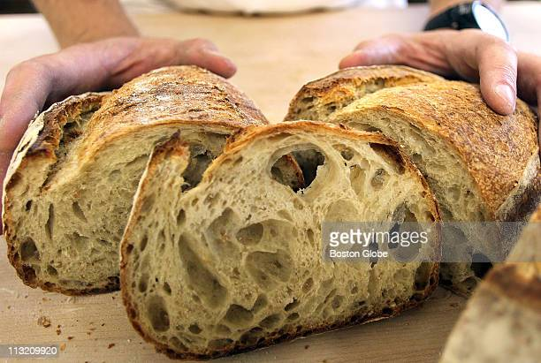 Peter Nyberg makes bread in the 18th century tradition using a custom made woodfired masonry oven This is a loaf the way it should look he says