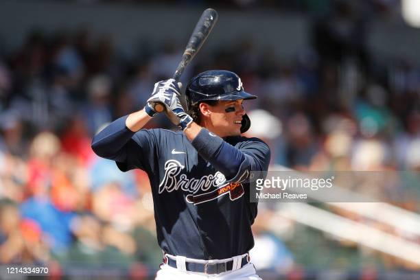 Peter O'Brien of the Atlanta Braves in action against the Houston Astros during a Grapefruit League spring training game at CoolToday Park on March...