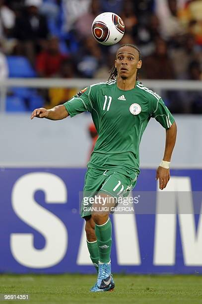 Peter Odemwingie of Nigeria controls the ball during their group stage match at the African Cup of Nations CAN2010 at the Tundavala stadium in...