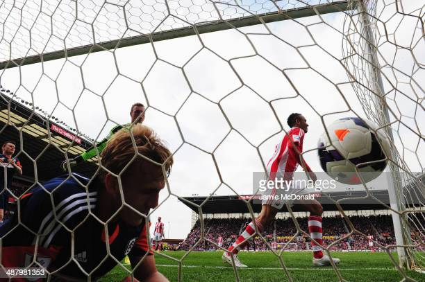 Peter Odemwingie of Stoke City celebrates after scoring during the Barclays Premier League match between Stoke City and Fulham at the Britannia...
