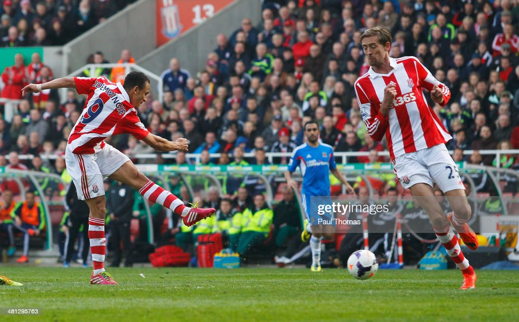 Peter Odemwingie of Stoke City scores during the Barclays Premier League match between Stoke City and Hull City at Britannia Stadium on March 29, 2014 in Stoke on Trent, England.