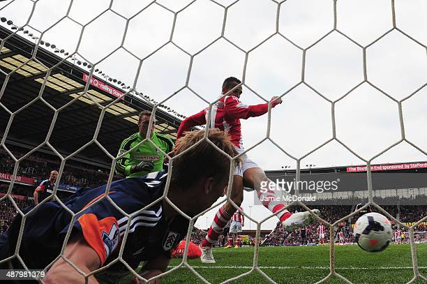 Peter Odemwingie of Stoke City scores during the Barclays Premier League match between Stoke City and Fulham at the Britannia Stadium on May 3, 2014...