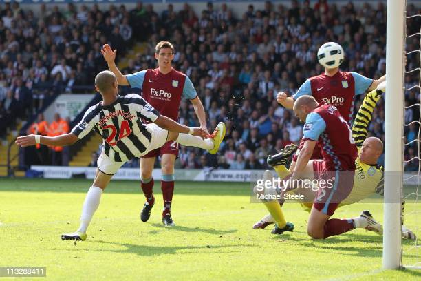 Peter Odemwingie of West Brom scores his sides equalising goal during the Barclays Premier League match between West Bromwich Albion and Aston Villa...