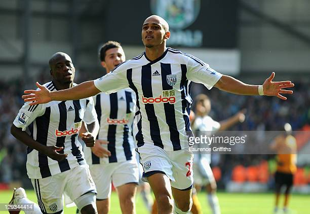 Peter Odemwingie of West Bromwich Albion celebrates scoring the second goal during the Barclays Premier League match between West Bromwich Albion and...