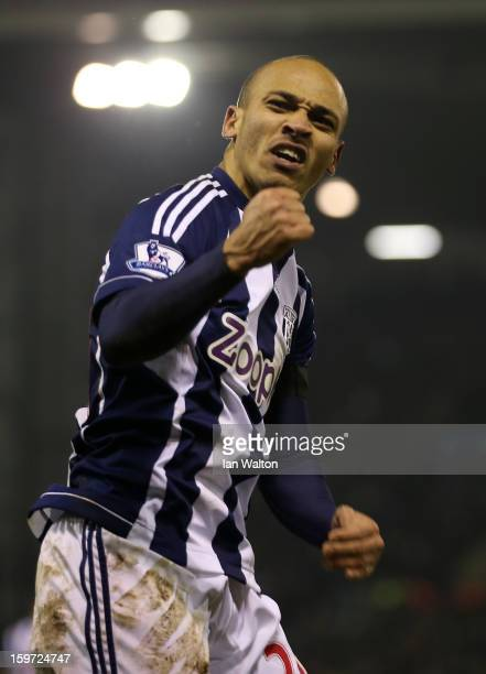 Peter Odemwingie of West Bromwich Albion celebrates scoring their second goal during the Barclays Premier League match between West Bromwich Albion...