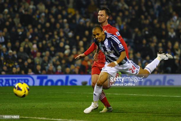 Peter Odemwingie of West Bromwich Albion scores his team's second goal during the Barclays Premier League match between West Bromwich Albion and...