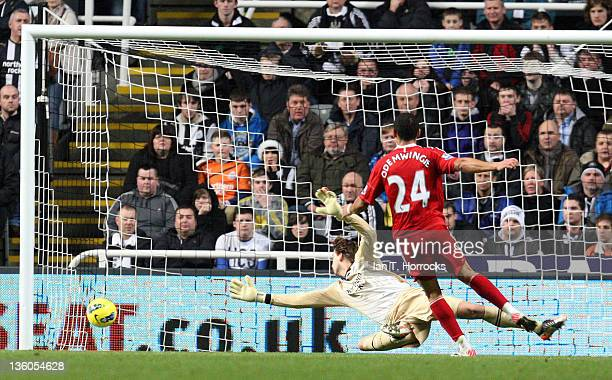 Peter Odemwingie of West Bromwich Albion scores the opening goal past goalkeeper Tim Krul of Newcastle United during the Barclays Premier League...